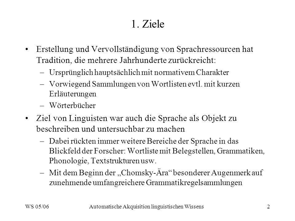 WS 05/06Automatische Akquisition linguistischen Wissens2 1.