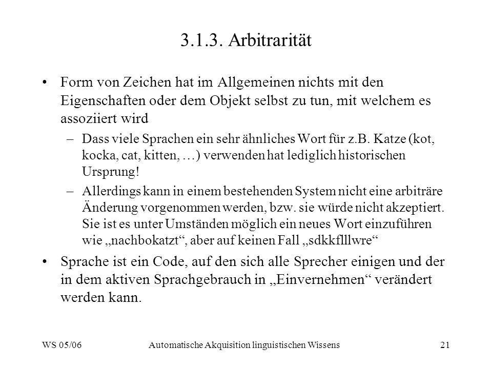 WS 05/06Automatische Akquisition linguistischen Wissens21 3.1.3.