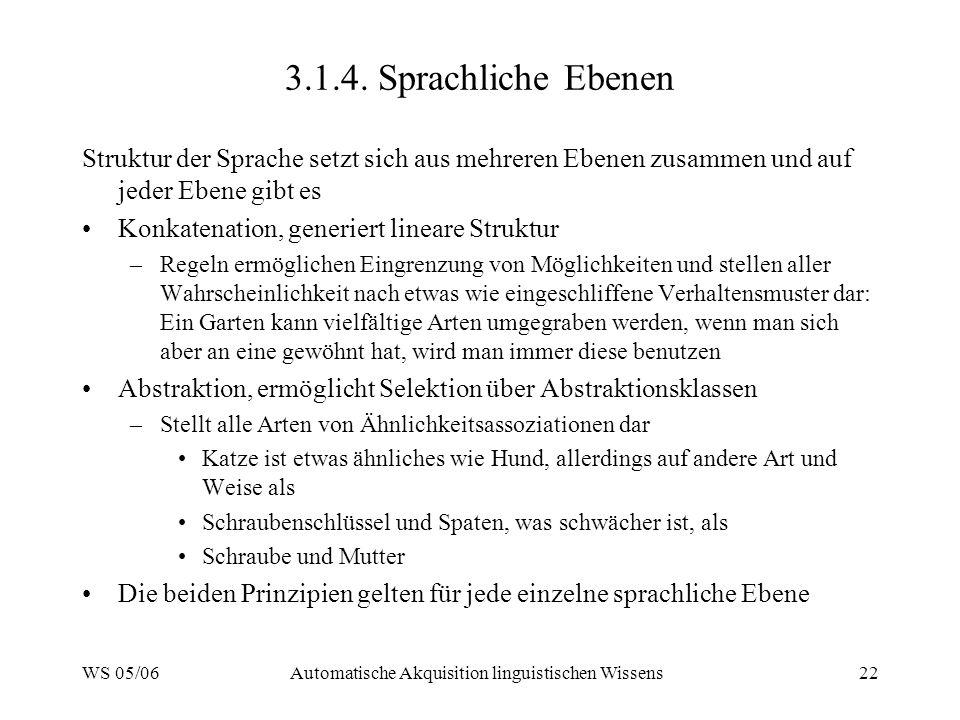 WS 05/06Automatische Akquisition linguistischen Wissens22 3.1.4.