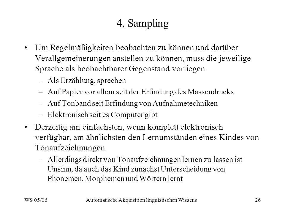 WS 05/06Automatische Akquisition linguistischen Wissens26 4.