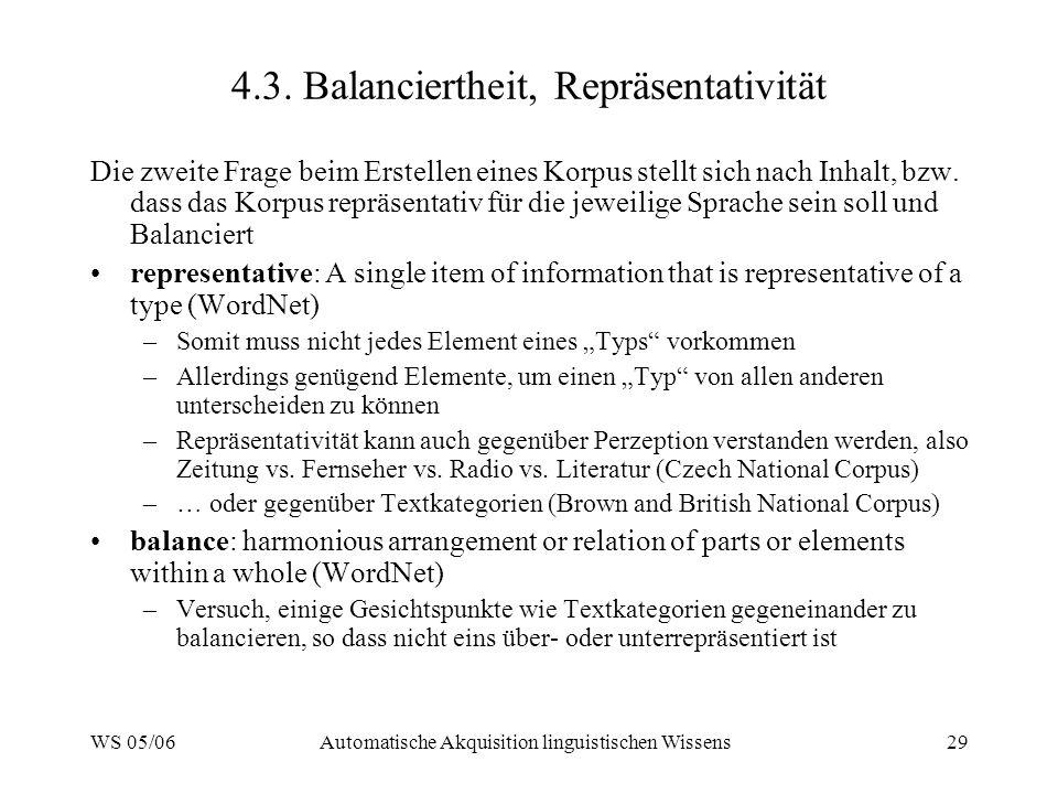 WS 05/06Automatische Akquisition linguistischen Wissens29 4.3.