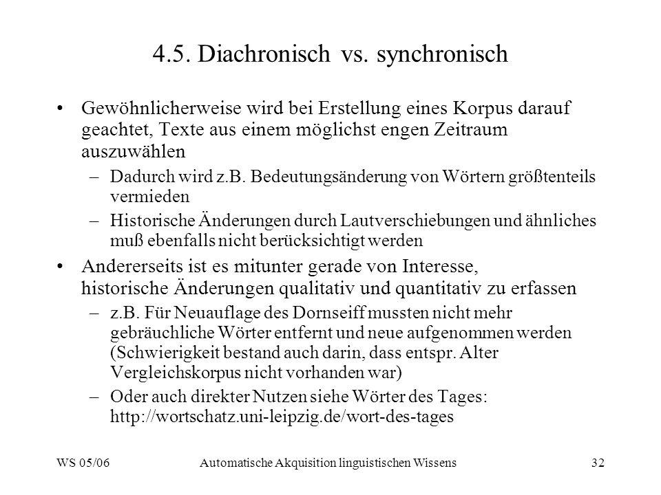 WS 05/06Automatische Akquisition linguistischen Wissens32 4.5.