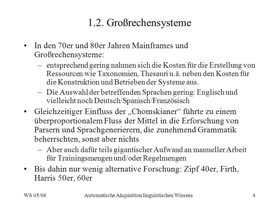 WS 05/06Automatische Akquisition linguistischen Wissens4 1.2.