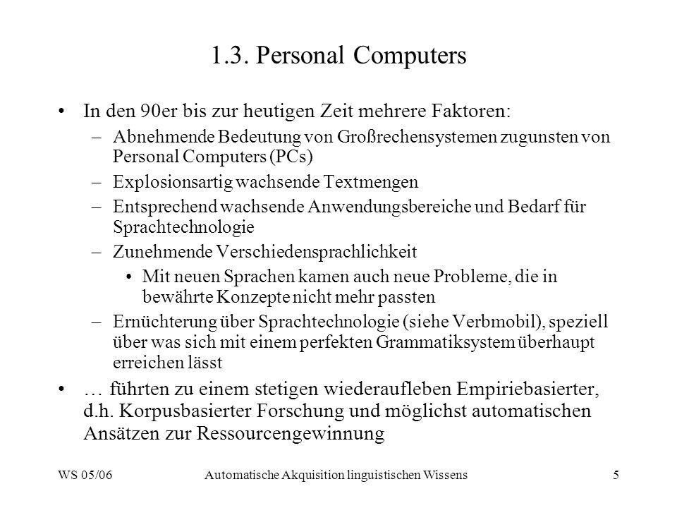 WS 05/06Automatische Akquisition linguistischen Wissens6 1.4.