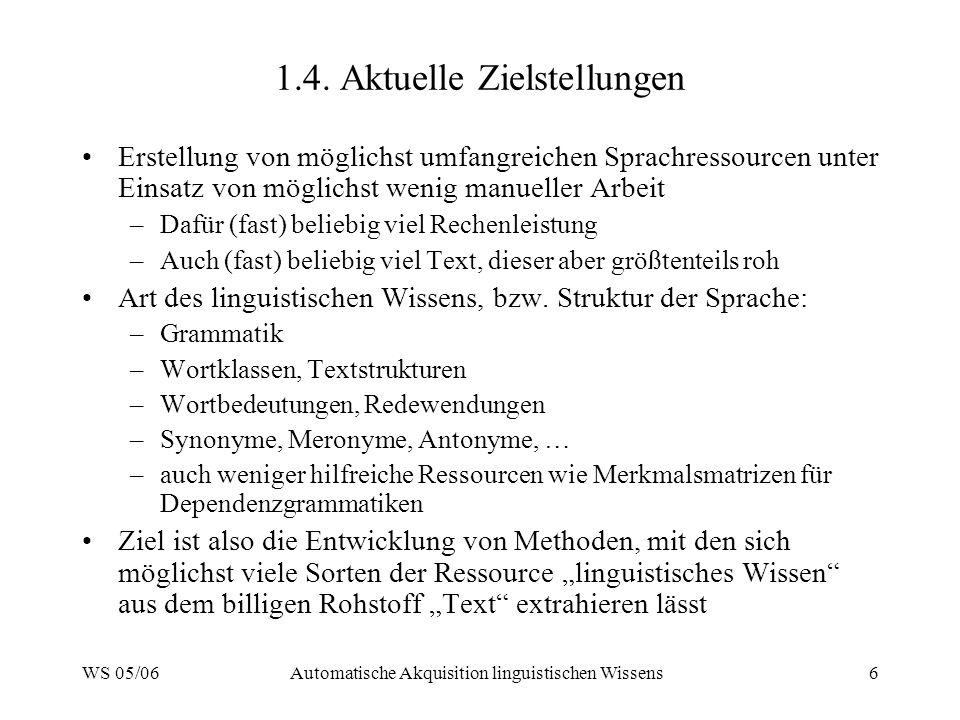 WS 05/06Automatische Akquisition linguistischen Wissens27 4.1.