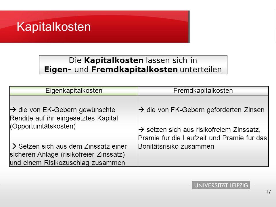 Kapitalkosten 17 Die Kapitalkosten lassen sich in Eigen- und Fremdkapitalkosten unterteilen EigenkapitalkostenFremdkapitalkosten die von EK-Gebern gew