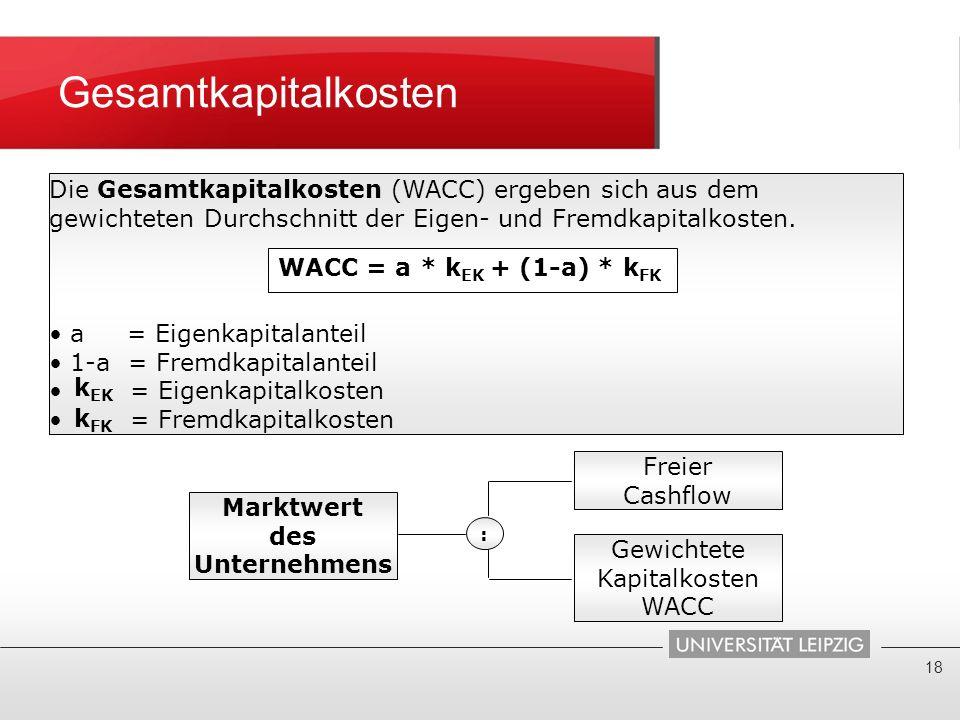 Gesamtkapitalkosten 18 Die Gesamtkapitalkosten (WACC) ergeben sich aus dem gewichteten Durchschnitt der Eigen- und Fremdkapitalkosten. a = Eigenkapita