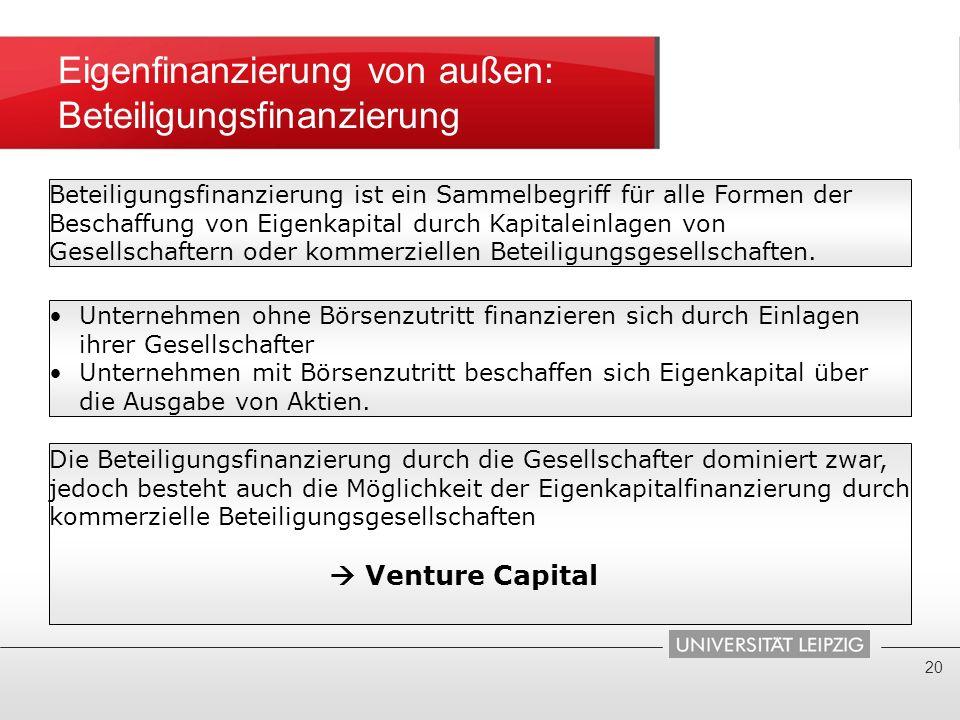 Eigenfinanzierung von außen: Beteiligungsfinanzierung 20 Beteiligungsfinanzierung ist ein Sammelbegriff für alle Formen der Beschaffung von Eigenkapit