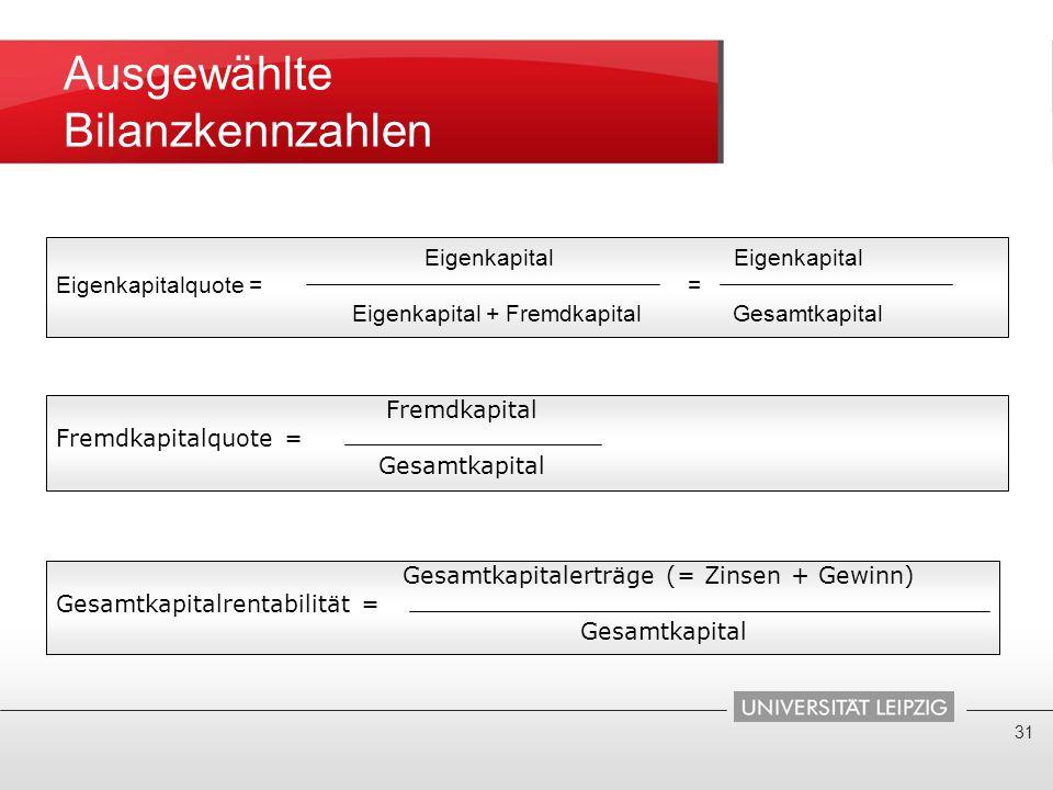 Ausgewählte Bilanzkennzahlen 31 Fremdkapital Fremdkapitalquote = Gesamtkapital Gesamtkapitalerträge (= Zinsen + Gewinn) Gesamtkapitalrentabilität = Ge