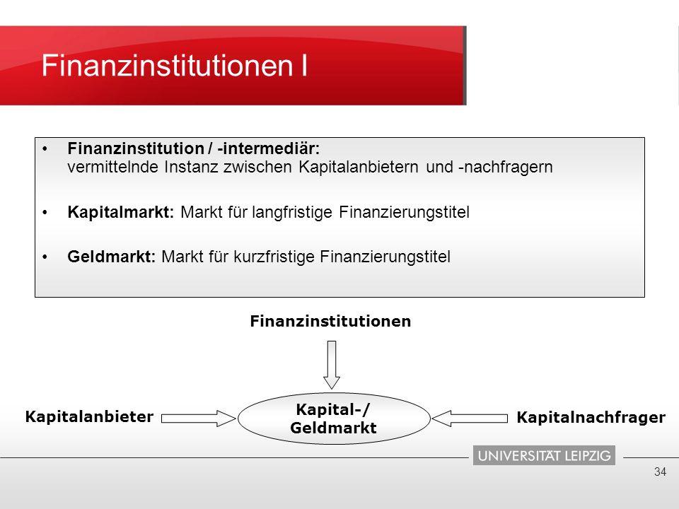 Finanzinstitutionen I 34 Finanzinstitution / -intermediär: vermittelnde Instanz zwischen Kapitalanbietern und -nachfragern Kapitalmarkt: Markt für lan
