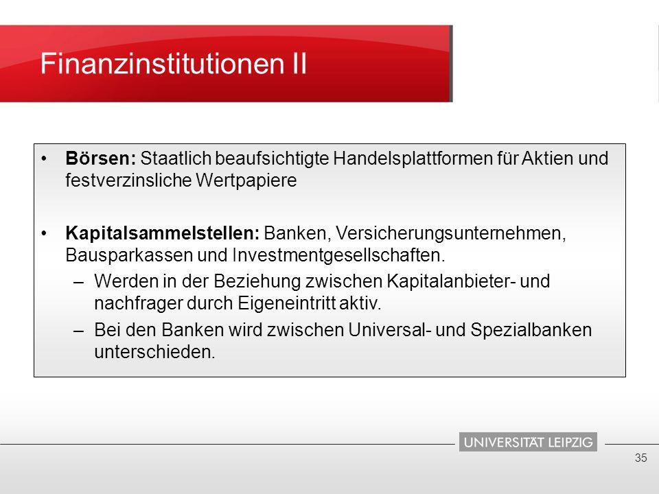 Finanzinstitutionen II 35 Börsen: Staatlich beaufsichtigte Handelsplattformen für Aktien und festverzinsliche Wertpapiere Kapitalsammelstellen: Banken