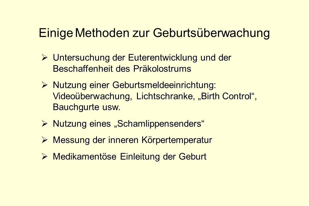 Einige Methoden zur Geburtsüberwachung Untersuchung der Euterentwicklung und der Beschaffenheit des Präkolostrums Untersuchung der Euterentwicklung un