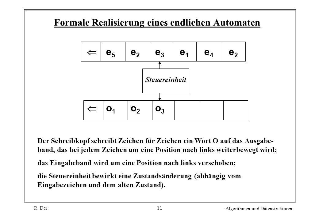 R. Der Algorithmen und Datenstrukturen 11 Formale Realisierung eines endlichen Automaten e 5 e 2 e 3 e 1 e 4 e 2 Steuereinheit o 1 o 2 o 3 Der Schreib