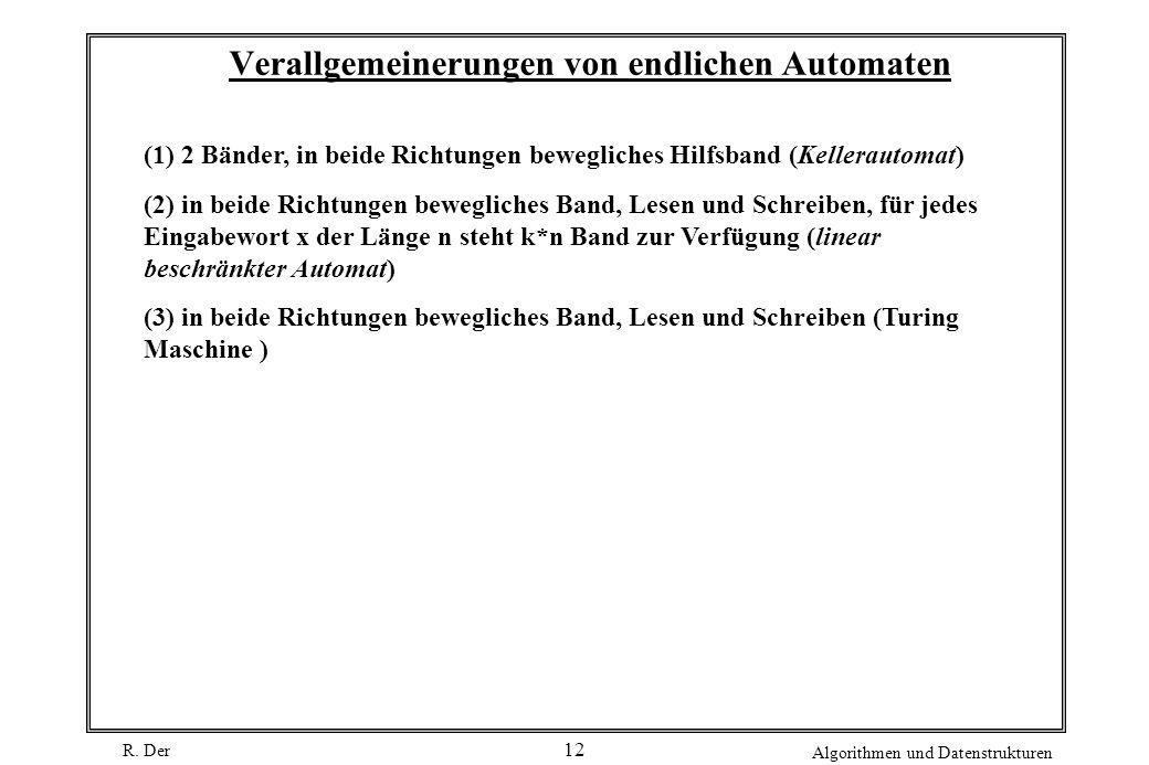 R. Der Algorithmen und Datenstrukturen 12 Verallgemeinerungen von endlichen Automaten (1) 2 Bänder, in beide Richtungen bewegliches Hilfsband (Kellera