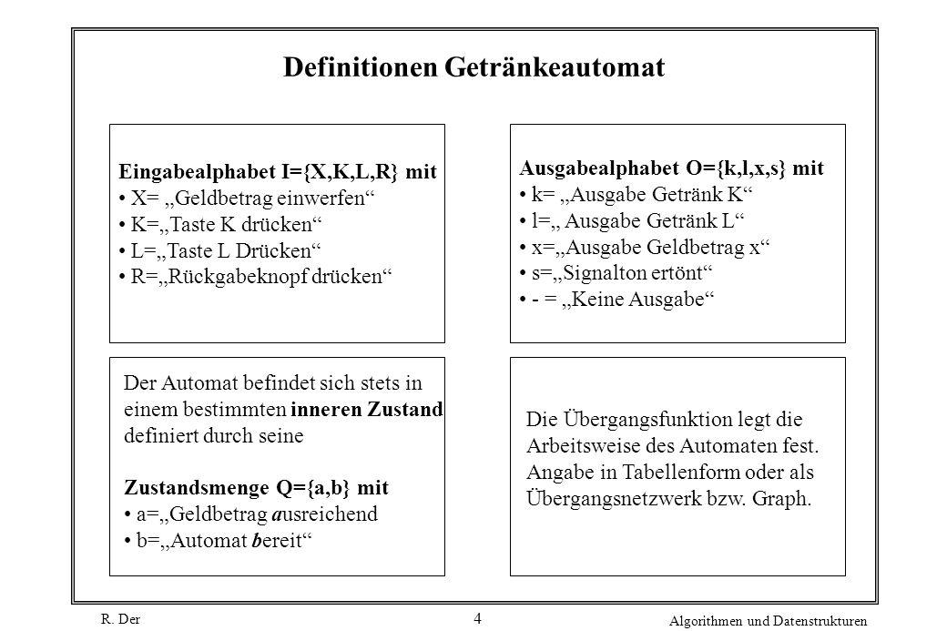 R. Der Algorithmen und Datenstrukturen 4 Definitionen Getränkeautomat Eingabealphabet I={X,K,L,R} mit X= Geldbetrag einwerfen K=Taste K drücken L=Tast