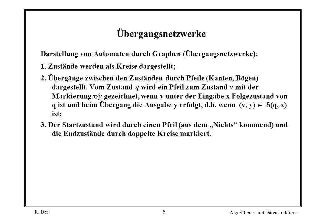 R. Der Algorithmen und Datenstrukturen 6 Übergangsnetzwerke Darstellung von Automaten durch Graphen (Übergangsnetzwerke): 1. Zustände werden als Kreis