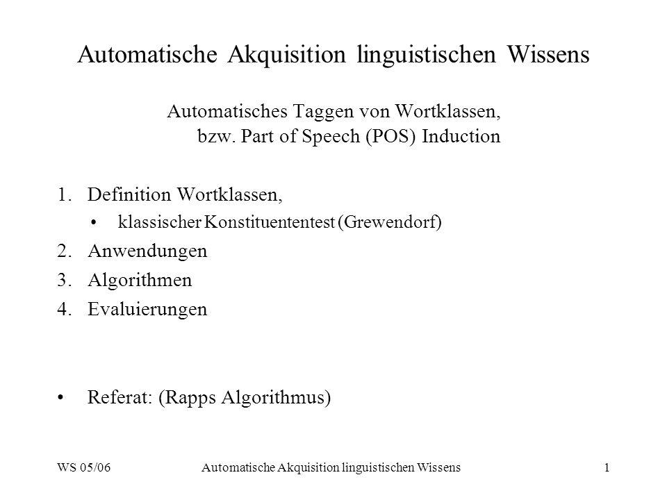 WS 05/06Automatische Akquisition linguistischen Wissens1 Automatisches Taggen von Wortklassen, bzw. Part of Speech (POS) Induction 1.Definition Wortkl