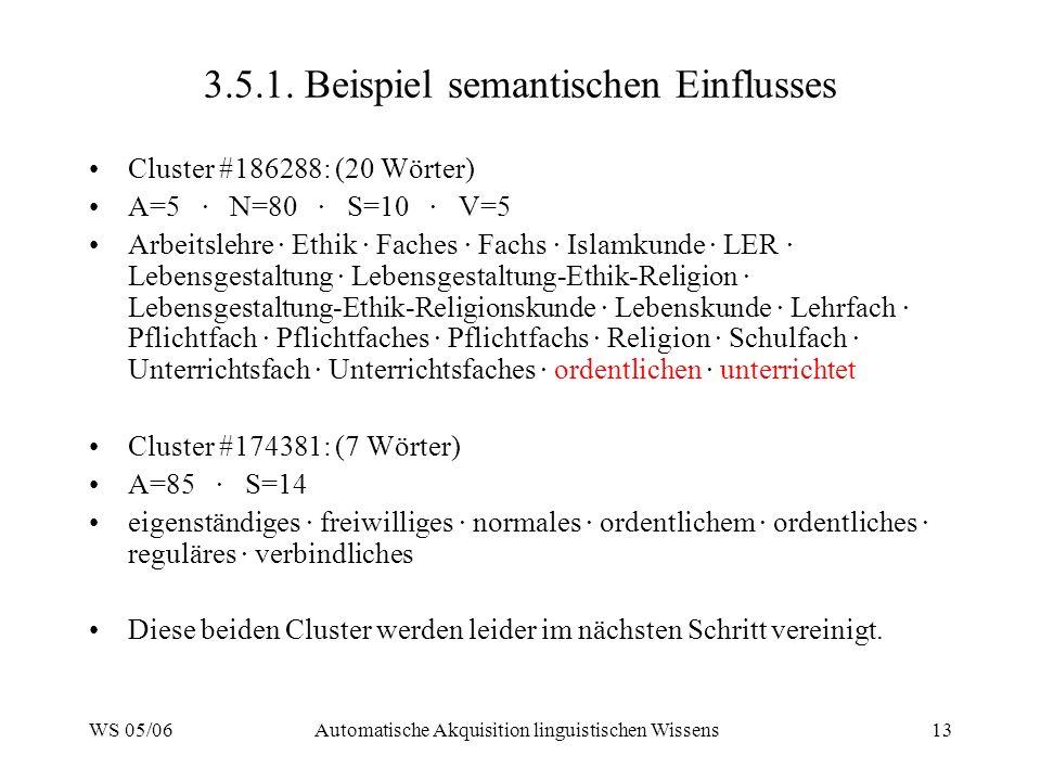 WS 05/06Automatische Akquisition linguistischen Wissens13 3.5.1. Beispiel semantischen Einflusses Cluster #186288: (20 Wörter) A=5 · N=80 · S=10 · V=5
