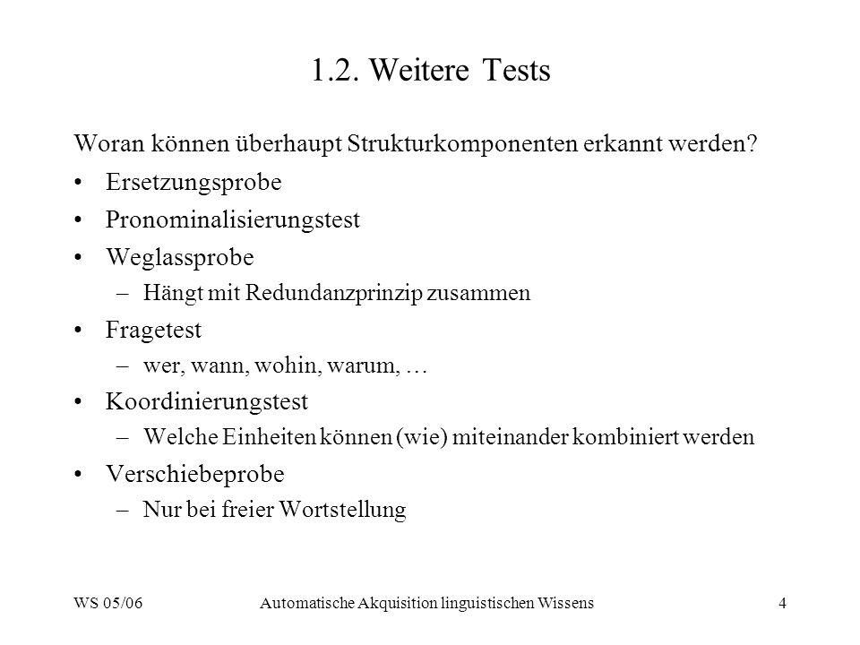 WS 05/06Automatische Akquisition linguistischen Wissens4 1.2. Weitere Tests Woran können überhaupt Strukturkomponenten erkannt werden? Ersetzungsprobe