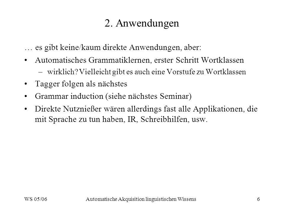 WS 05/06Automatische Akquisition linguistischen Wissens6 2. Anwendungen … es gibt keine/kaum direkte Anwendungen, aber: Automatisches Grammatiklernen,