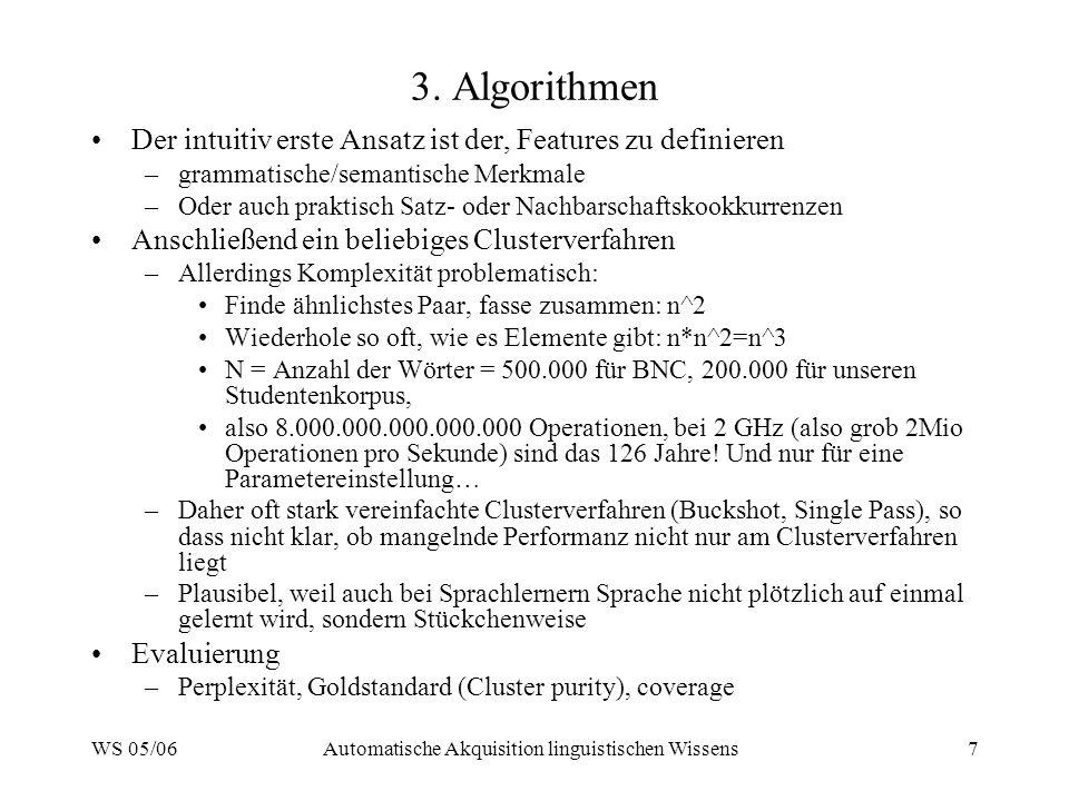 WS 05/06Automatische Akquisition linguistischen Wissens7 3. Algorithmen Der intuitiv erste Ansatz ist der, Features zu definieren –grammatische/semant