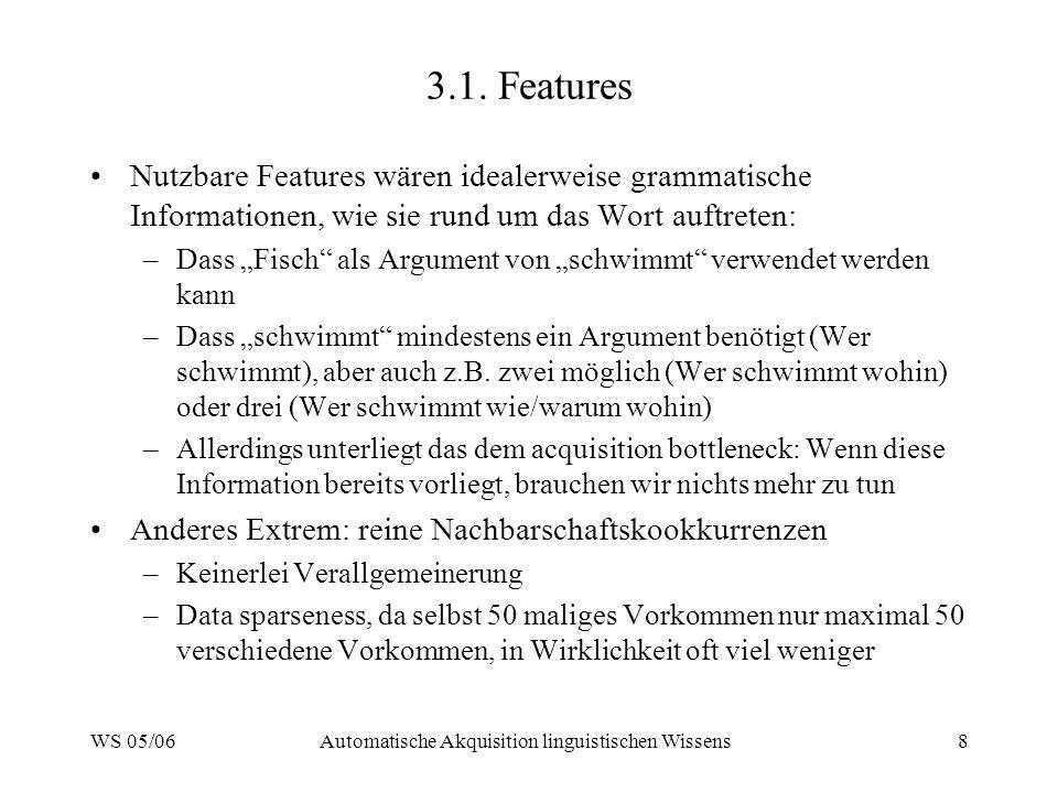 WS 05/06Automatische Akquisition linguistischen Wissens8 3.1. Features Nutzbare Features wären idealerweise grammatische Informationen, wie sie rund u