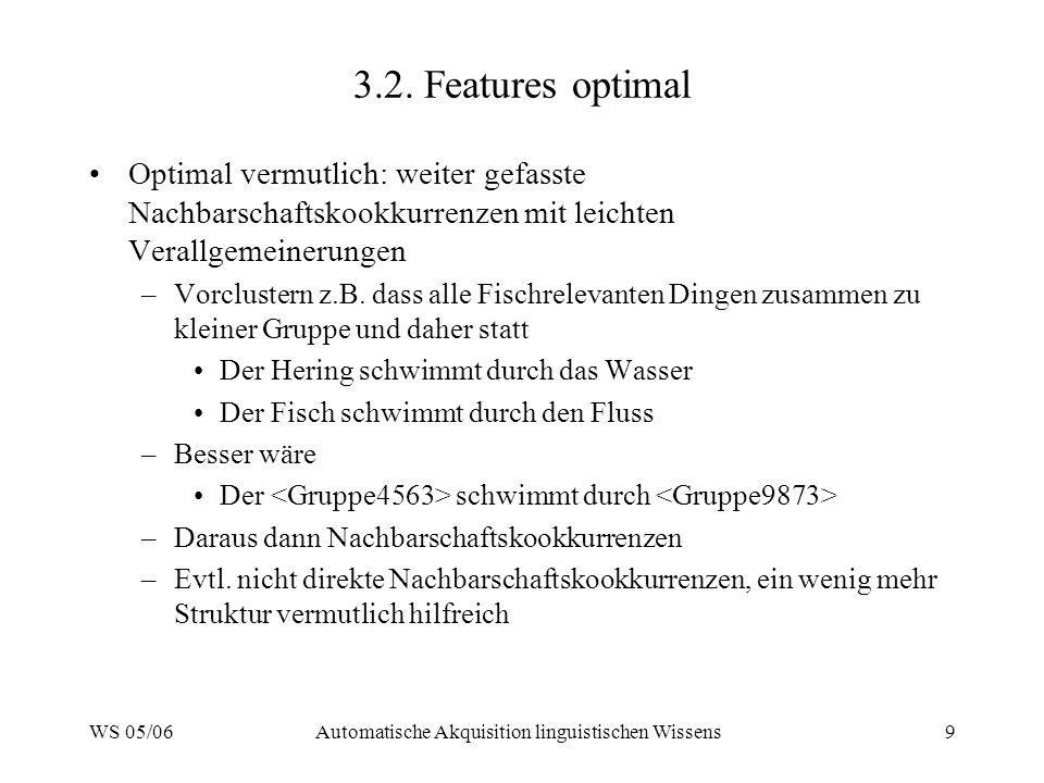 WS 05/06Automatische Akquisition linguistischen Wissens9 3.2. Features optimal Optimal vermutlich: weiter gefasste Nachbarschaftskookkurrenzen mit lei