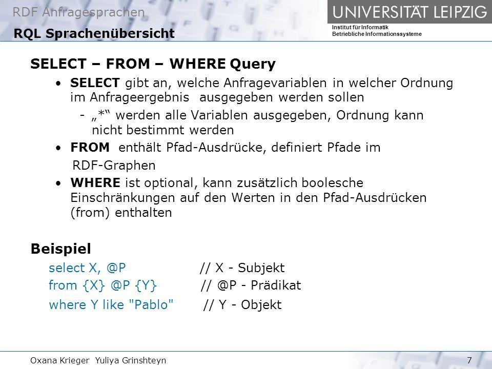 RDF Anfragesprachen Institut für Informatik Betriebliche Informationssysteme Oxana Krieger Yuliya Grinshteyn28 Regelbasierte Anfragesprache Versa all() - dc:date -> * Ergebnis: 2001-03-04 all() - dc:date -> contains( -03- ) Ergebnis: 2001-03-04 all() |- dc:date -> contains( -03- ) Ergebnis: http://rdfinference.org/ril/issue-tracker/i2001030423