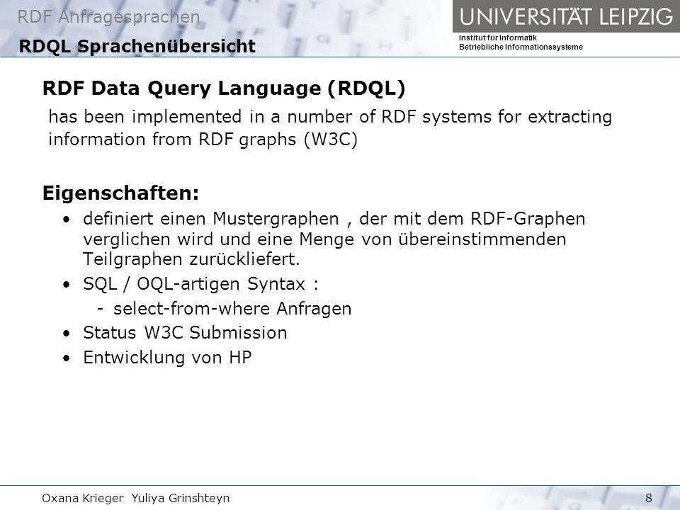 RDF Anfragesprachen Institut für Informatik Betriebliche Informationssysteme Oxana Krieger Yuliya Grinshteyn29 Regelbasierte Anfragesprache Versa Backward traversal expression: Form : list <- list - boolean http://rdfinference.org/ril/issue-tracker/i2001030423 2001-03-04 <- dc:date - * ( 2001-03-04 * Unnecessary abbreviation