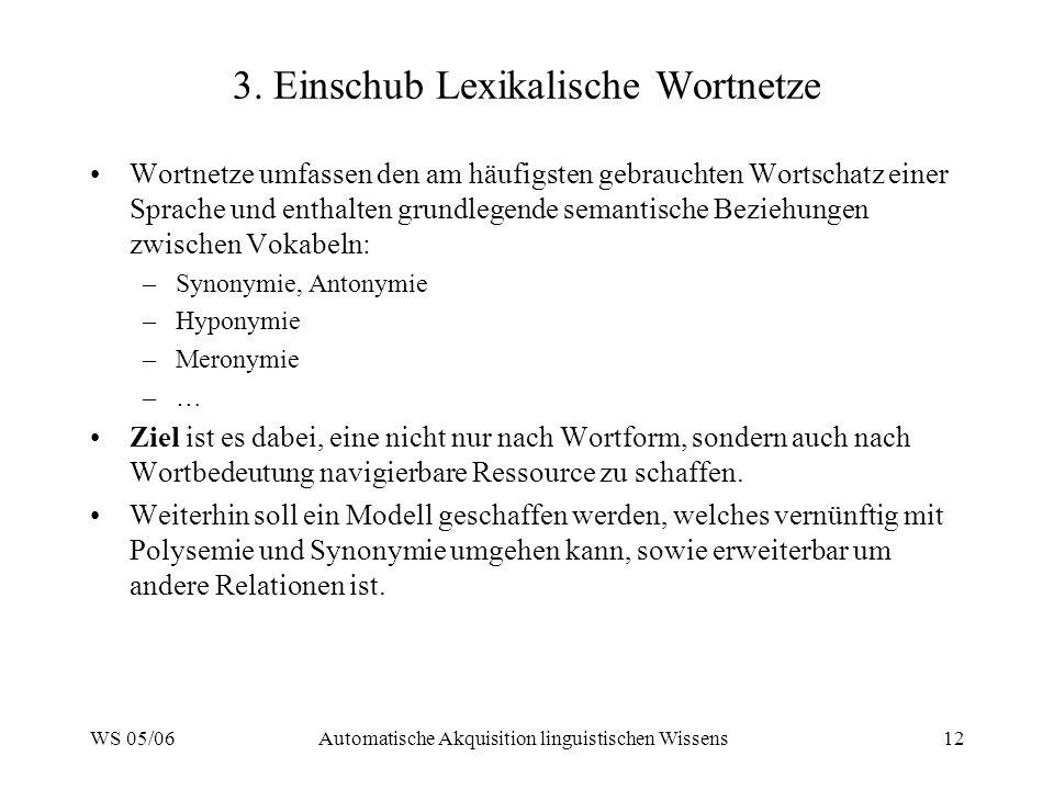 WS 05/06Automatische Akquisition linguistischen Wissens12 3. Einschub Lexikalische Wortnetze Wortnetze umfassen den am häufigsten gebrauchten Wortscha