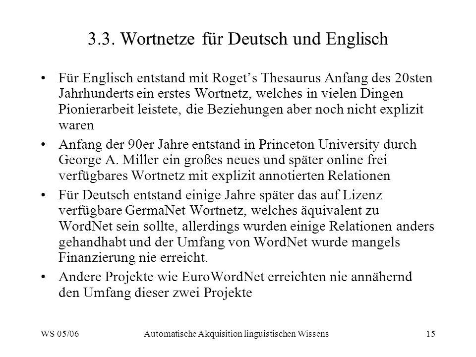 WS 05/06Automatische Akquisition linguistischen Wissens15 3.3. Wortnetze für Deutsch und Englisch Für Englisch entstand mit Rogets Thesaurus Anfang de