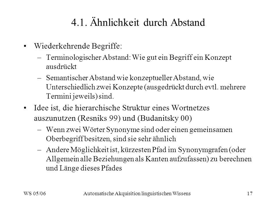 WS 05/06Automatische Akquisition linguistischen Wissens17 4.1. Ähnlichkeit durch Abstand Wiederkehrende Begriffe: –Terminologischer Abstand: Wie gut e