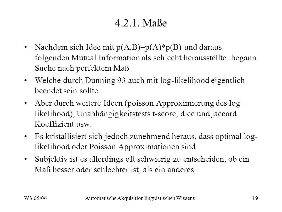 WS 05/06Automatische Akquisition linguistischen Wissens19 4.2.1. Maße Nachdem sich Idee mit p(A,B)=p(A)*p(B) und daraus folgenden Mutual Information a