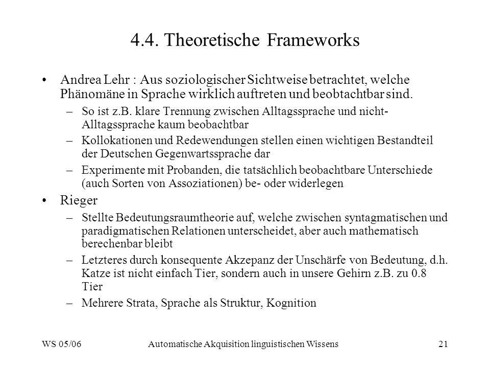 WS 05/06Automatische Akquisition linguistischen Wissens21 4.4. Theoretische Frameworks Andrea Lehr : Aus soziologischer Sichtweise betrachtet, welche