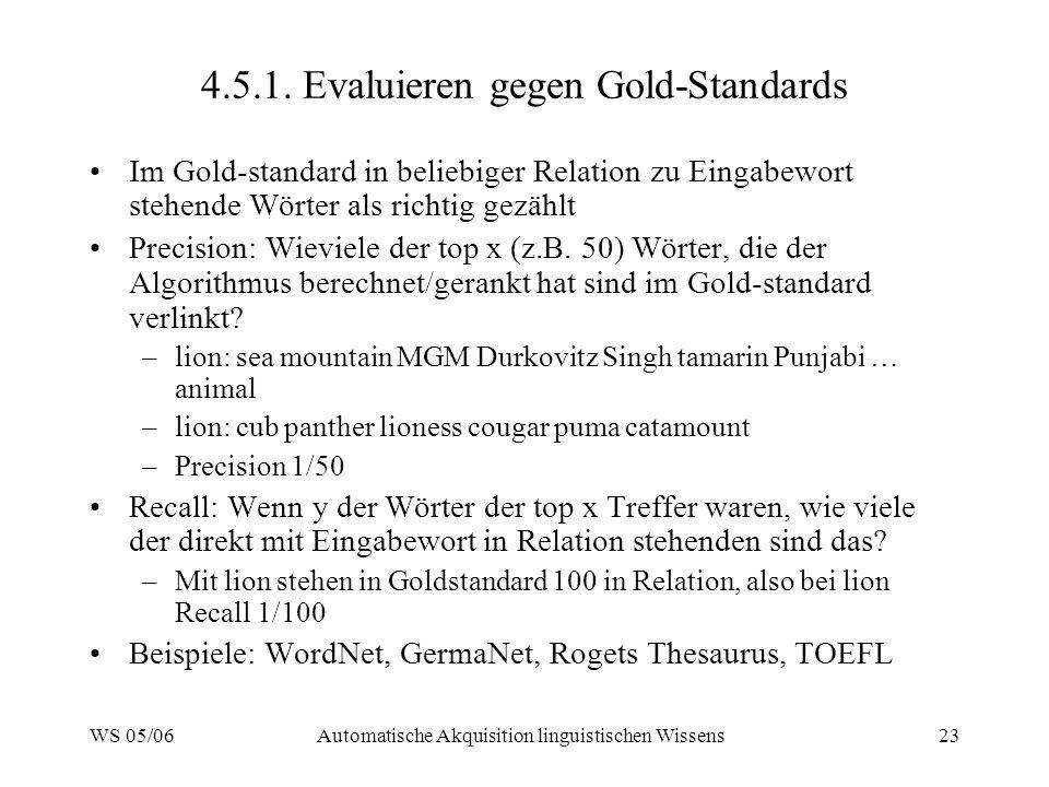 WS 05/06Automatische Akquisition linguistischen Wissens23 4.5.1. Evaluieren gegen Gold-Standards Im Gold-standard in beliebiger Relation zu Eingabewor