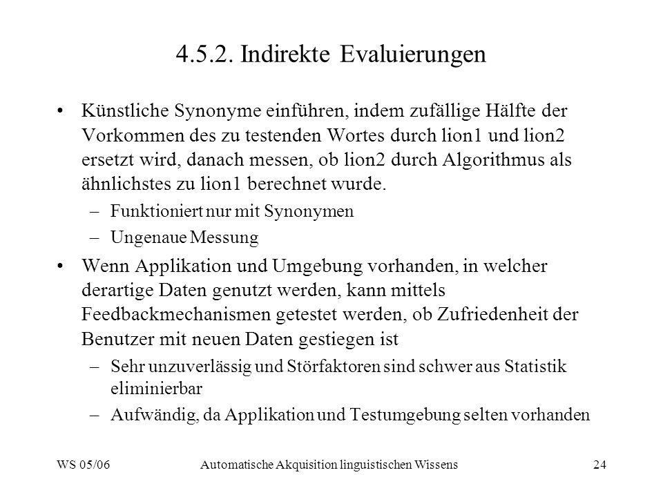 WS 05/06Automatische Akquisition linguistischen Wissens24 4.5.2. Indirekte Evaluierungen Künstliche Synonyme einführen, indem zufällige Hälfte der Vor
