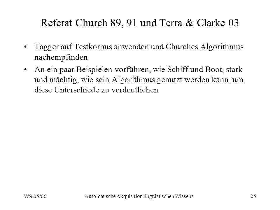WS 05/06Automatische Akquisition linguistischen Wissens25 Referat Church 89, 91 und Terra & Clarke 03 Tagger auf Testkorpus anwenden und Churches Algo