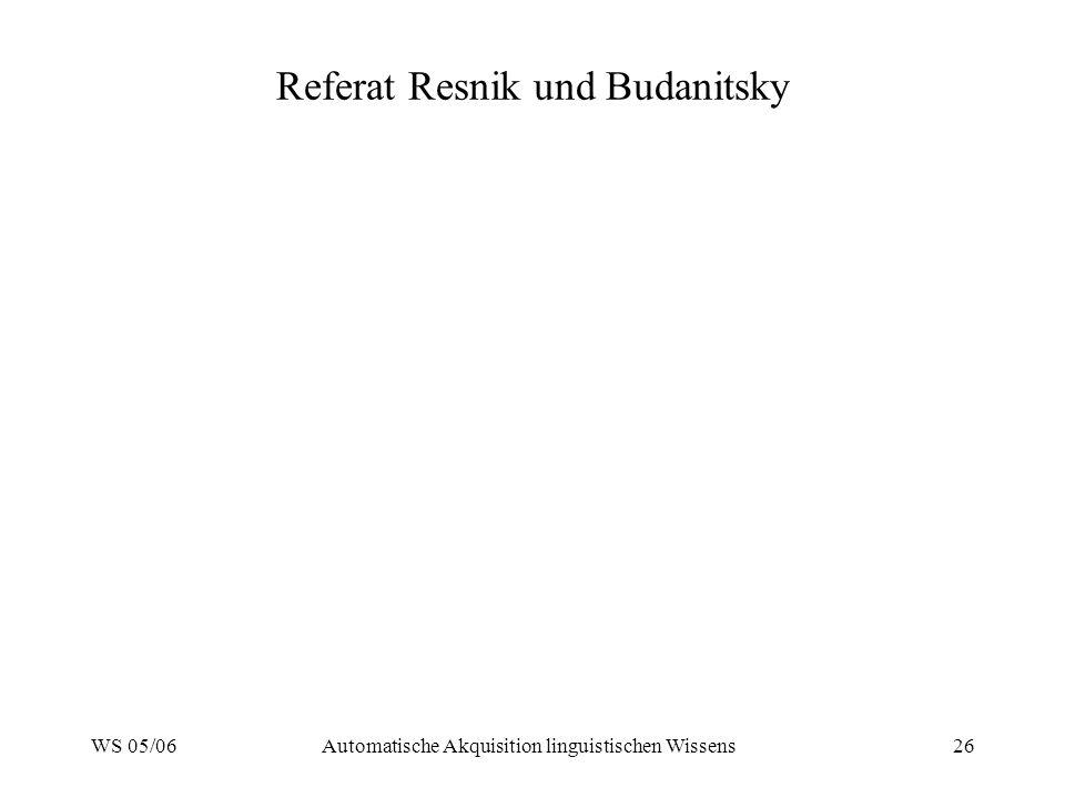 WS 05/06Automatische Akquisition linguistischen Wissens26 Referat Resnik und Budanitsky