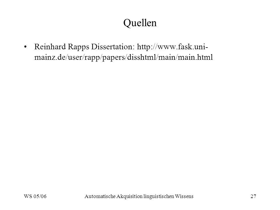 WS 05/06Automatische Akquisition linguistischen Wissens27 Quellen Reinhard Rapps Dissertation: http://www.fask.uni- mainz.de/user/rapp/papers/disshtml