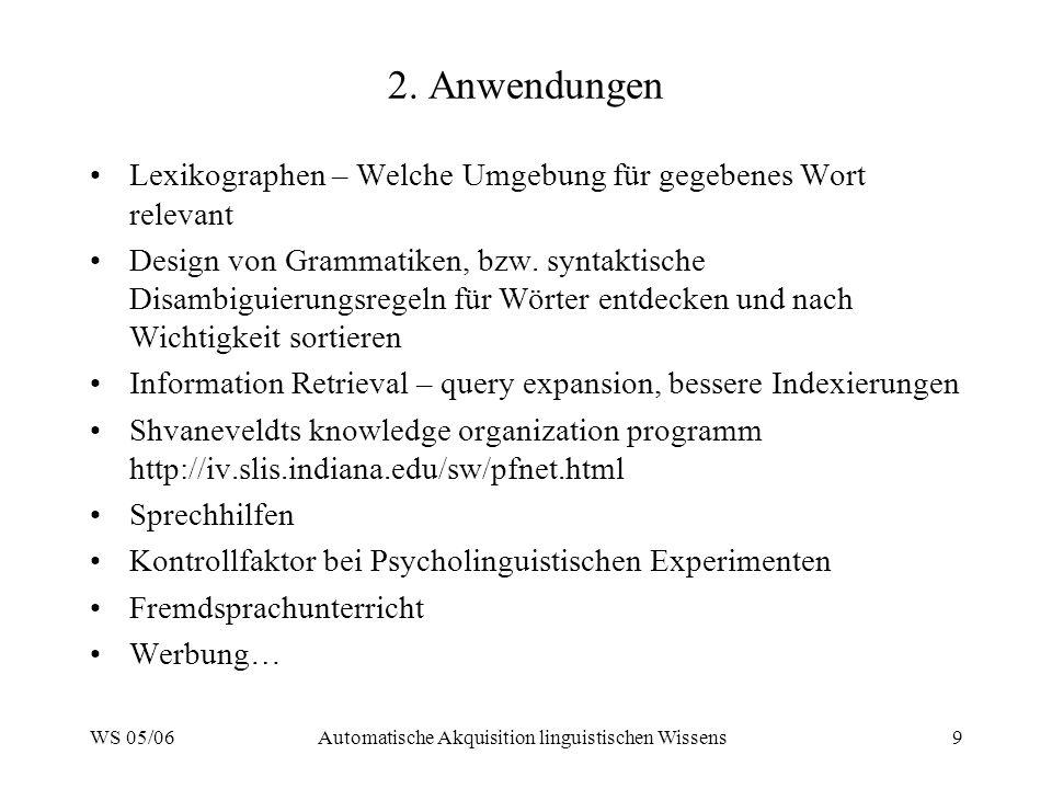 WS 05/06Automatische Akquisition linguistischen Wissens9 2. Anwendungen Lexikographen – Welche Umgebung für gegebenes Wort relevant Design von Grammat