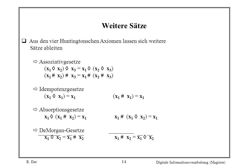R. Der Digitale Informationsverarbeitung (Magister) 14 Aus den vier Huntingtonschen Axiomen lassen sich weitere Sätze ableiten Assoziativgesetze (x 1