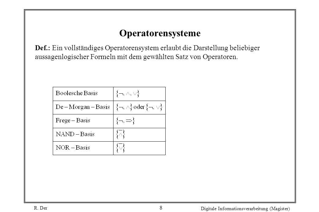 R. Der Digitale Informationsverarbeitung (Magister) 8 Operatorensysteme Def.: Ein vollständiges Operatorensystem erlaubt die Darstellung beliebiger au