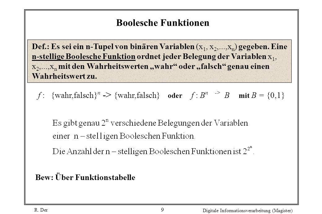 R. Der Digitale Informationsverarbeitung (Magister) 9 Boolesche Funktionen Bew: Über Funktionstabelle f : {wahr,falsch} n -> {wahr,falsch} oder f : B