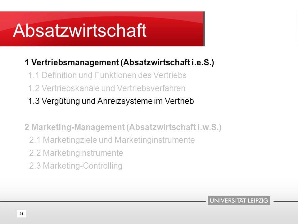 21 Absatzwirtschaft 1 Vertriebsmanagement (Absatzwirtschaft i.e.S.) 1.1 Definition und Funktionen des Vertriebs 1.2 Vertriebskanäle und Vertriebsverfa