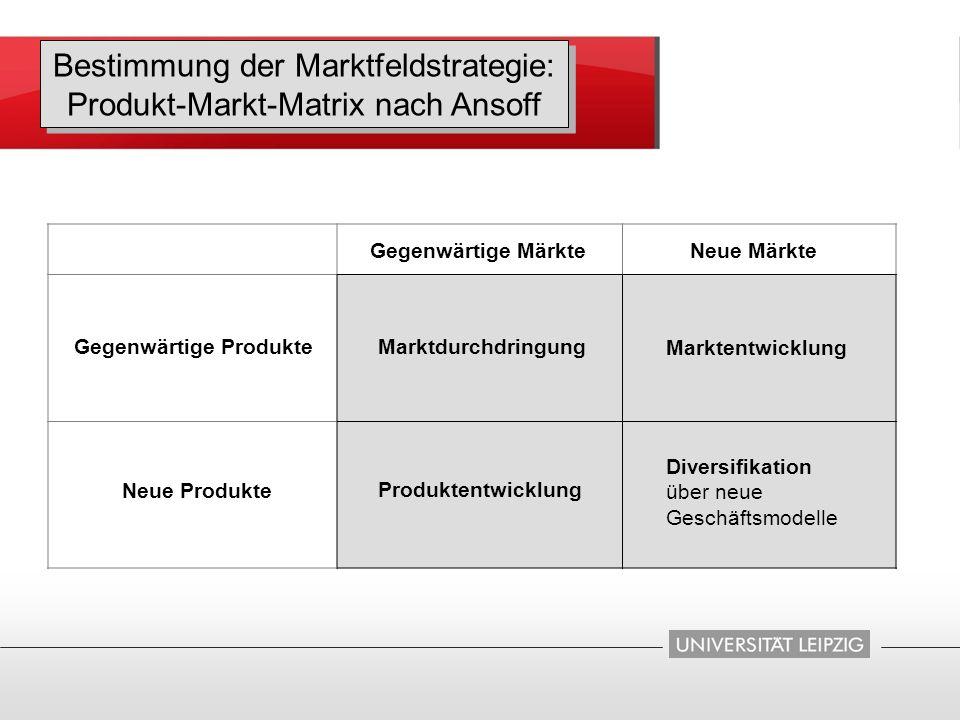 Gegenwärtige Produkte Neue Produkte Gegenwärtige MärkteNeue Märkte Marktdurchdringung Marktentwicklung Produktentwicklung Diversifikation über neue Ge