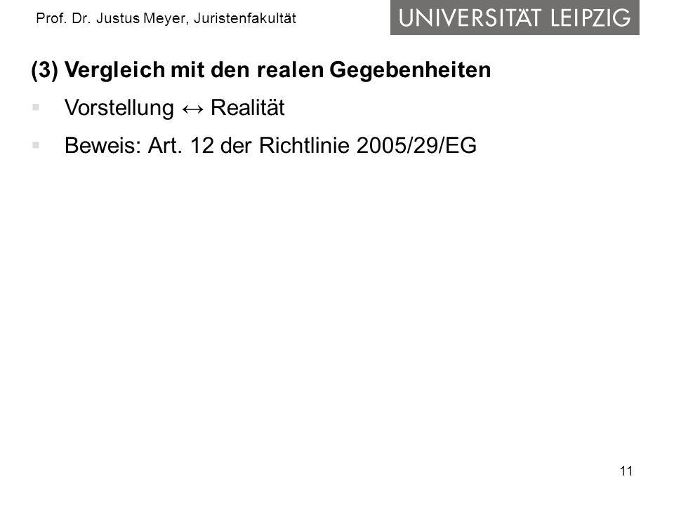 11 Prof. Dr. Justus Meyer, Juristenfakultät (3) Vergleich mit den realen Gegebenheiten Vorstellung Realität Beweis: Art. 12 der Richtlinie 2005/29/EG