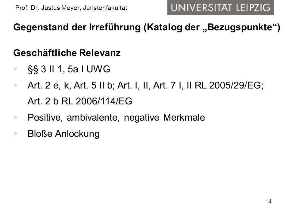 14 Prof. Dr. Justus Meyer, Juristenfakultät Gegenstand der Irreführung (Katalog der Bezugspunkte) Geschäftliche Relevanz §§ 3 II 1, 5a I UWG Art. 2 e,
