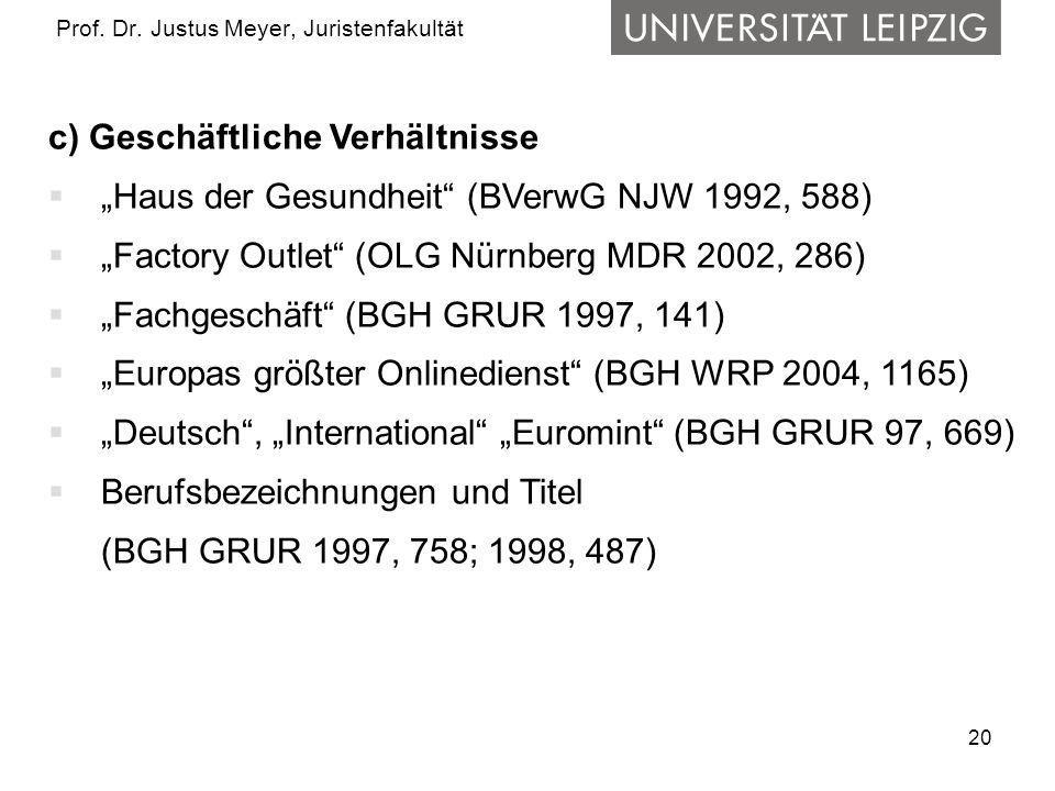 20 Prof. Dr. Justus Meyer, Juristenfakultät c) Geschäftliche Verhältnisse Haus der Gesundheit (BVerwG NJW 1992, 588) Factory Outlet (OLG Nürnberg MDR