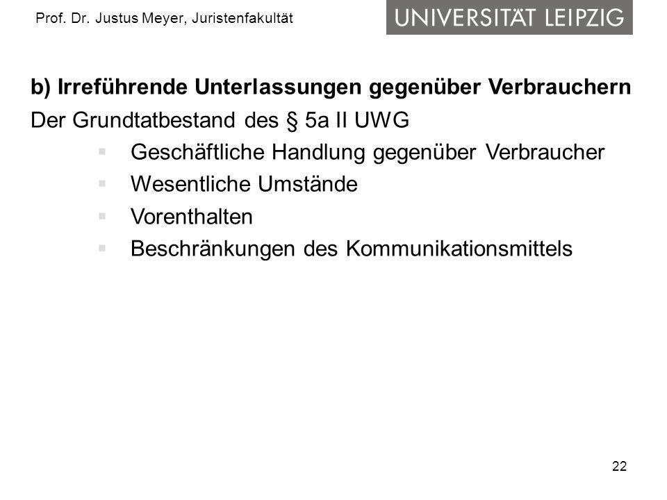 22 Prof. Dr. Justus Meyer, Juristenfakultät b) Irreführende Unterlassungen gegenüber Verbrauchern Der Grundtatbestand des § 5a II UWG Geschäftliche Ha