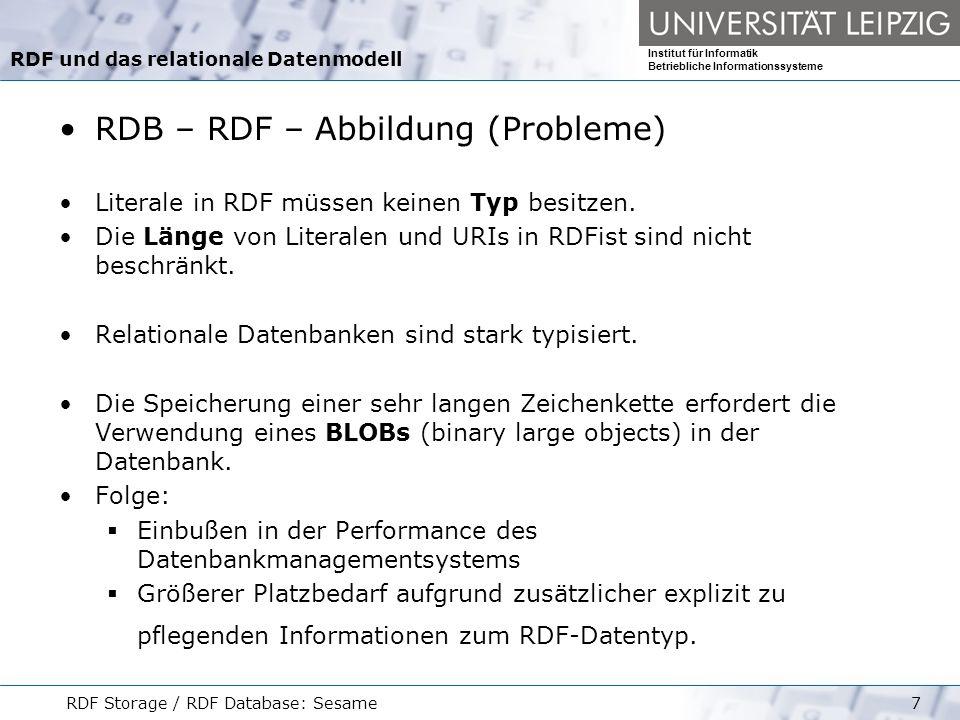 Institut für Informatik Betriebliche Informationssysteme RDF Storage / RDF Database: Sesame8 Datenbank-Schemata zum Speichern von RDF-Daten Ähnlichkeiten: Die RDF-Graphen werden in Form von Subjekt Prädikat Objekt- Tripeln abgespeichert.